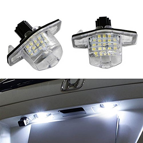 Ijdmtoy® Oem Fit Xenon White 18-Smd Led License Plate Light Lamps For Honda Civic Coupe Fit Cr-V Element Crosstour, Etc