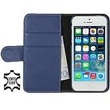 """Stilgut Ledertasche """"Talis"""" Book Type Case V2 für Apple iPhone 5 & iPhone 5s aus echtem Leder mit Fach für Kredit- oder Visitenkarten (blau)"""