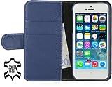 "Stilgut Ledertasche ""Talis"" Book Type Case V2 f�r Apple iPhone 5 & iPhone 5s aus echtem Leder mit Fach f�r Kredit- oder Visitenkarten (blau)"