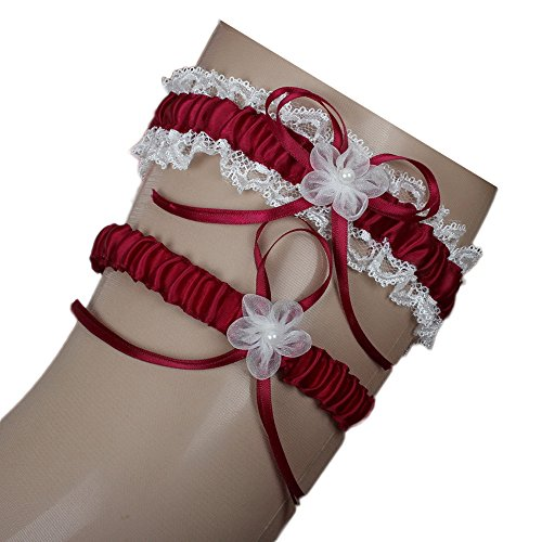 Dressesonline Women's Burgundy Garter with 2 Pieces Packing for Wedding Bride GA021BG