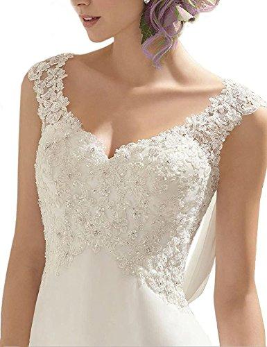 AbaoWedding Women's Summer Style Sleeveless Lace Wedding Dress Long White Tube Dress (size16)