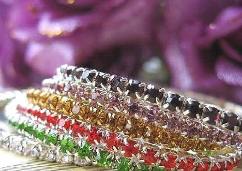 1 Single Row Crystal Rhinestone Bracelet-APPLE GREEN
