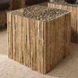 Padma's plantation Decorative Bamboo Stick Bunching Table Base With Glass