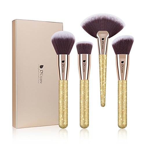 DUcare Face Makeup Brushes 4Pc Professional Travel Foundation Contour Powder Fan Essential Cosmetic Make up Tools Glitter Large