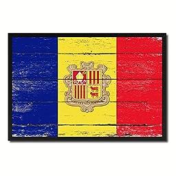 Andorra National Shabby Chic Flag Art Canvas Print Wall Home Décor Interior Design Souvenir Gift Ideas