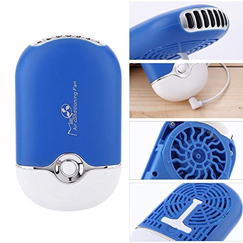 Welltop® Mini Personal Fan Portable USB Rechargeable Mini Bladeless Handheld Air Conditioning Fan Bladeless Portable Refrigeration Fans with Stand Sports Cooling Fan (Blue)