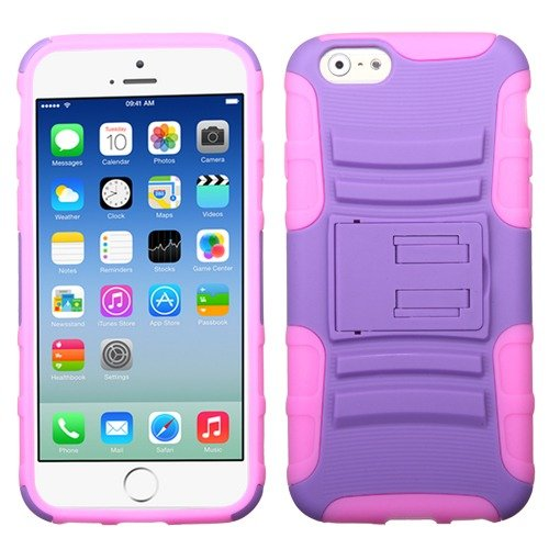Apple Iphone 6 Purple Pink Armor Hybrid Kickstand Cover Snap On Hard Rugged Case Cell Phone Shield Protector Shell From [Accessory Library]