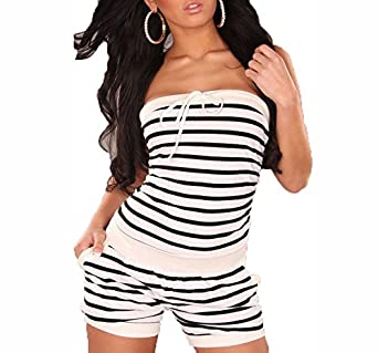 New Womens Ladies Girls Sexy Bandeau Summer Striped