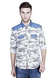 Showoff Men's Full Sleeves Slim fit White Printed Casual Shirt