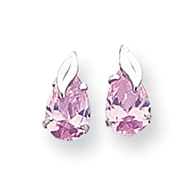 14ct White Gold Pink Pear Shaped CZ with Leaf Post Earrings - Measures 8x6mm