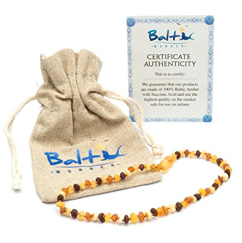 Raw Baltic Amber Teething Necklaces For Babies (Unisex) - Anti Flammatory, Drooling & Teething Pain Reduce Properties - Multi 4 Colors UNPOLISHED Natural Certificated Oval Baltic Jewelry with the Highest Quality Guaranteed. Easy to Fastens with a Twist-in Screw Clasp Mothers Approved Remedies!