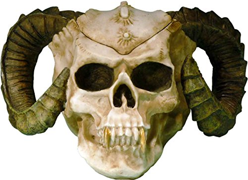 Satanic Demon Devil Skull-Realistic Menacing Voodoo Ram Horned Evil Replica-Removable Top-Stash Box-Home Decor by Nose Desserts