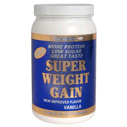 Genesis Super Weight Gain, Low Sugar,  Vanilla, 3.2-Pound Plastic Jars