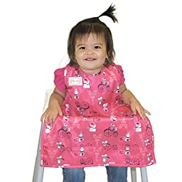 BIB-ON, A New, Full-Coverage Bib and Apron Combination for Infant, Baby, Toddler Ages 0-4+. One Size Fits All! (French Mice)