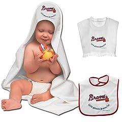 Buy MLB McArthur Atlanta Braves 3-Piece Hooded Bath Towel & Bibs Set by McArthur