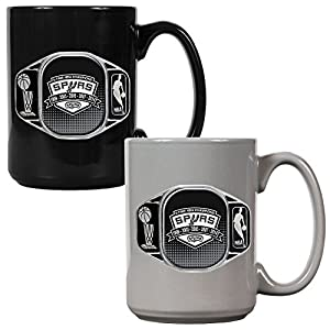 NBA San Antonio Spurs 2014 Champ Ceramic Mug Set (2-Pack), Black by Great American Products