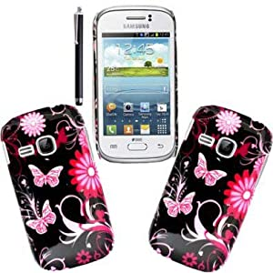 GSDSTYLEYOURMOBILE {TM} SAMSUNG GALAXY YOUNG S6310 RUBBER SILICONE GEL SKIN PROTECTION CASE COVER + STYLUS (Butterfly)