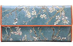 Jiame Trifold Printed Leather Wallet - Van Gogh (Almond Branches in Bloom)