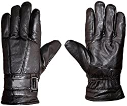 AlexVyan®-Genuine Accessory with 1 year warranty- BLACK PURE LEATHER WINTER AND RIDING GLOVES - FLASH SALE (Black Color)