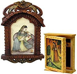 Little India Wooden Jharokha Photo Frame and Wooden Key Holder Box (Brown, DL3COMB121)