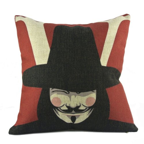 New Cartoon Movie V 4 Vendetta Mask Decorative Pillow Lumbar Case Cushion Covers