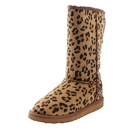 """Soda """"Soong"""" Womens Soft Fur Eskimo Boots,9 B(M) Us,Tan Leopard-New"""