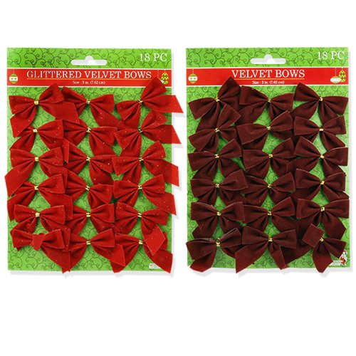 36pc Holiday Christmas Gift Velvet Bows - Adds an Elegant Finishing Touch - Red and Maroon
