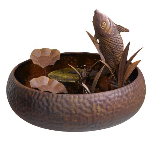 Grasslands Road Metal Fish Fountain, 17-Inch, Brown