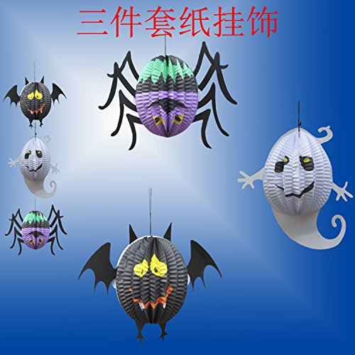 Tojoy 3Pcs Halloween Decorated Paper Lanterns, Spider Ghost Bat Lanterns For Halloween Haunted Halloween April Fool'S Day Decorative front-950397