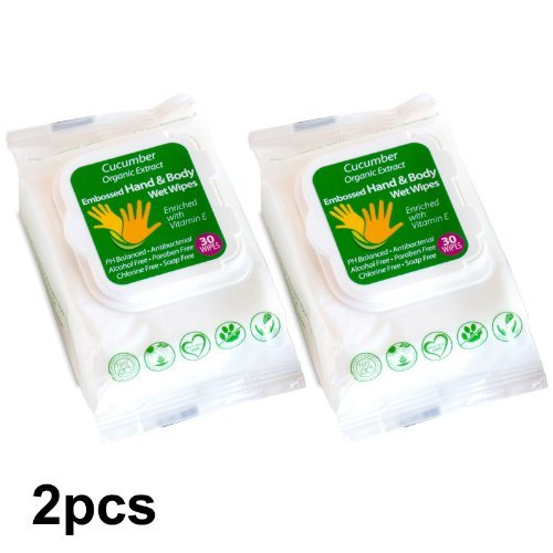 2 PACK ORGANIC CUCUMBER HAND & BODY WIPES WITH ORGANIC ALOE VERA EXTRACT, ALCOHOL, PARABEN FREE - 1