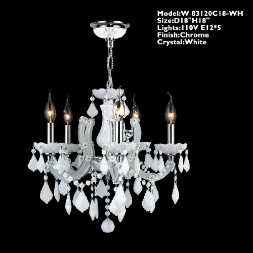 Worldwide Lighting W83120C18-WH Catherine 5 Light with White Crystal Chandelier, Chrome Finish