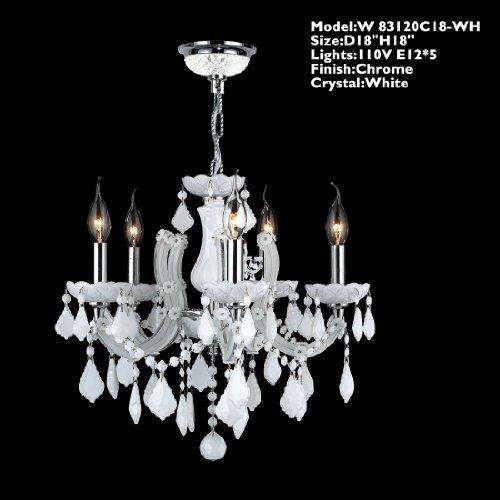 Worldwide Lighting W83120C18-WH Catherine 5 Light with White Crystal Chandelier, Chrome Finish Worldwide Lighting B00BBMRMD4
