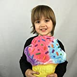 Ice Cream Cone Novelty Food Throw Pillows Lifelike Designs - Easy to Clean