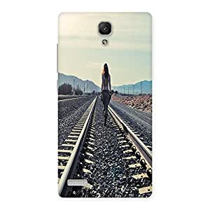 Ajay Enterprises Train Track and Girl Back Case Cover for Redmi Note
