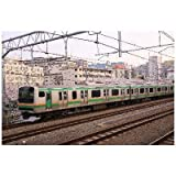 【桜・鉄道のポストカード】E231系 東海道線東海道本線 品川区通過風景のハガキ葉書