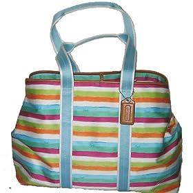 Coach Tote Handbag - XL Watercolor Striped Travel Suitcase Bag 13545