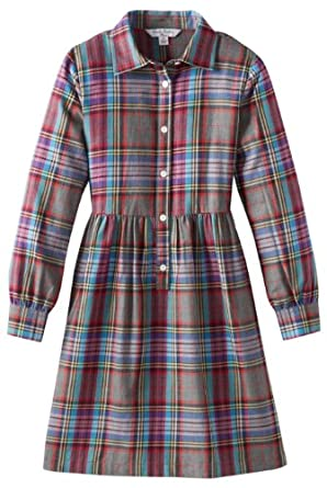 Brooks Brothers Big Girls' Plaid Shirtdress, Multi Plaid, 8