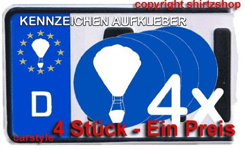 BALLON FESSELBALLON BALLONFAHREN NUMMERNSCHILD Aufkleber Autoaufkleber 4er Set