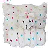 Babies Bloom Cream White Multi Dot Bear Coral Fleece Cuddle Set -(Pillow/Blanket)
