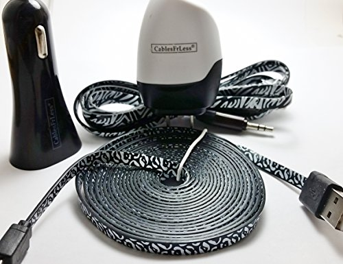 CablesFrLess 4 in 1 Leopard Print Tangle Free Noodle Style Micro USB and Auxiliary Accessory kit fits Android Samsung Galaxy S3 S4 Reverb Note Google Nexus HTC One Kindle Fire HD Touch Acer LG Optimus Pantech Blackberry Motorola HTC Sony Ericsson and most other micro USB devices (10ft Black)