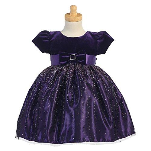 Lito Purple Velvet Bodice Sparkle Tulle Girls Christmas Dress 18M