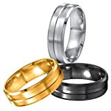 Areke 8mm Men Women Wedding Rings,Stainless Steel Matte Polished Engagement Finger Bagues Sets Of 3 Ring Size 7