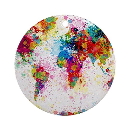 CafePress - World Map Paint Splashes - Round Holiday Christmas Ornament (World Map Round compare prices)