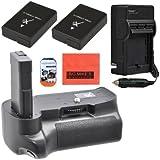 Big Mike'S Kit batterie et chargeur pour Nikon D5100 D5200 D5300 appareil photo reflex numérique avec Batterie verticale Grip Lot de 2 Batteries de rechange En-El14 Rapid Ac/Dc Chargeur de protection d'écran chiffon de nettoyage En microfibre