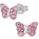 .925 Sterling Silver Hypoallergenic Pink Crystal Butterfly Stud Earrings for Girls (Nickel Free)