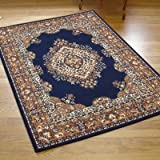 New Traditional Shiraz Rug In Navy Blue