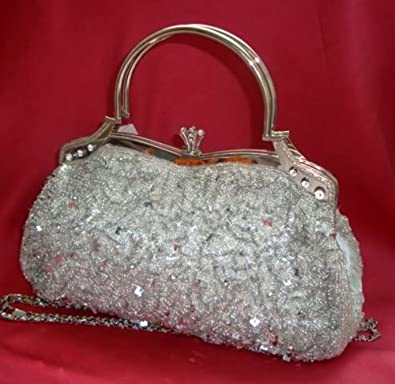 Silver Satin Diamante Sequin Crystal Clutch Bag Purse Evening Party Wedding Prom Amazon.co.uk ...