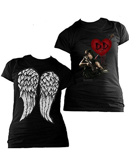 The Walking Dead Daryl Crossbow Heart and Wings-T-shirt  Donna    nero L