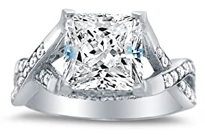 Size 10 - Solid 14k White Gold Princess Cut Solitaire with Round Side Stones Highest Quality CZ Cubic Zirconia Engagement Ring 2.5ct. from Sonia Jewels