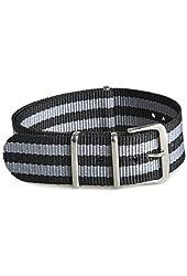 Gemony 22mm Black and Gray Striped NATO Strap Nylon Watchband - James Bond Style